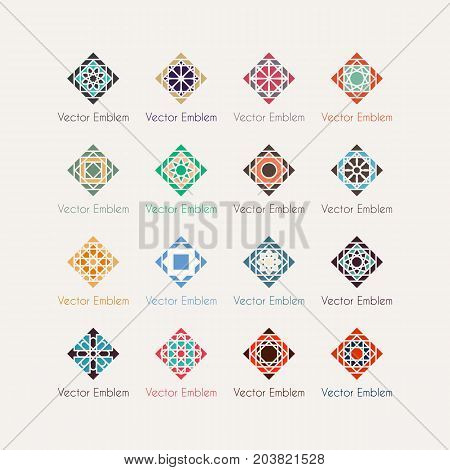 Mosaic arabic ornaments set. Vector rhombus emblems for luxury logos and retro ornamental design.