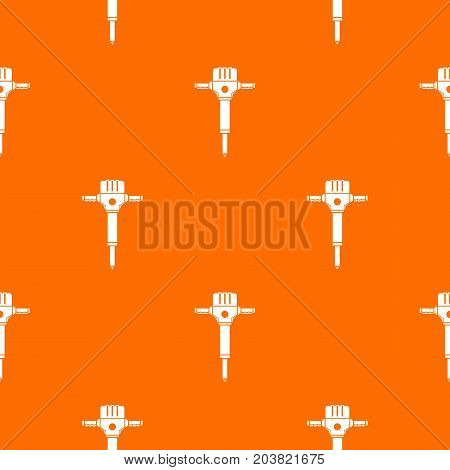 Jackhammer pattern repeat seamless in orange color for any design. Vector geometric illustration