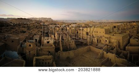 Aerial view to Al-Qasr old town in Dakhla oasis Egypt
