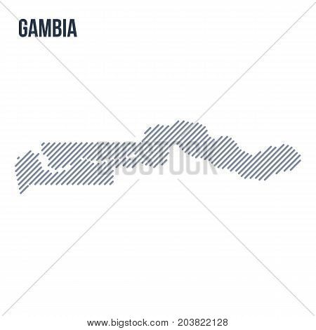 Vector Abstract Hatched Map Of Gambia With Oblique Lines Isolated On A White Background.