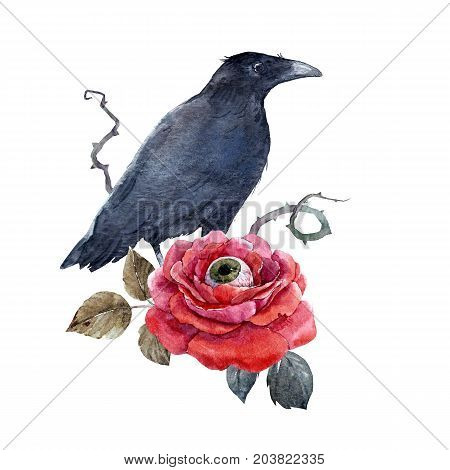 Beautiful illustration with watercolor halloween rose with human eye and black raven