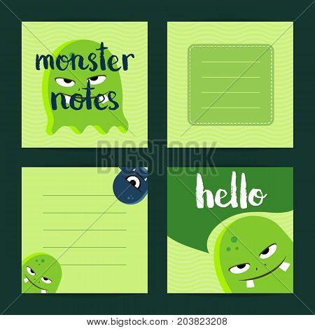 Vector square note cards set with cartoon monsters, Green card with monsters illustration