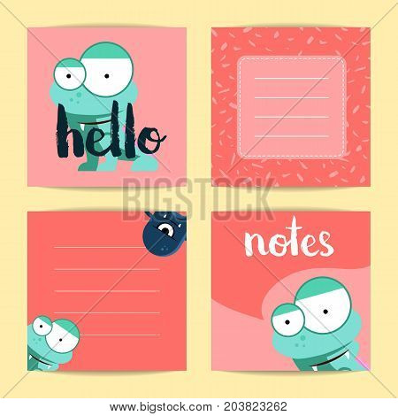 Vector square note cards with lettering and cute cartoon monsters on blots background. Red card note illustration