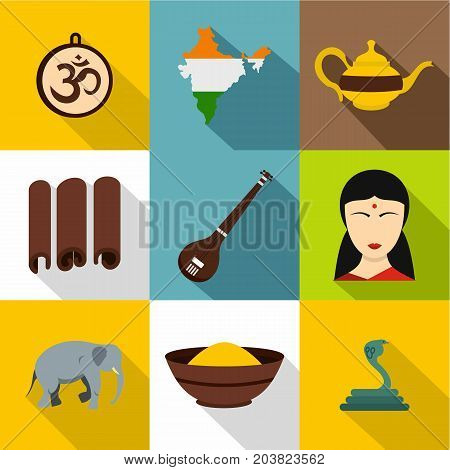 Tourism in India icon set. Flat style set of 9 tourism in India vector icons for web design