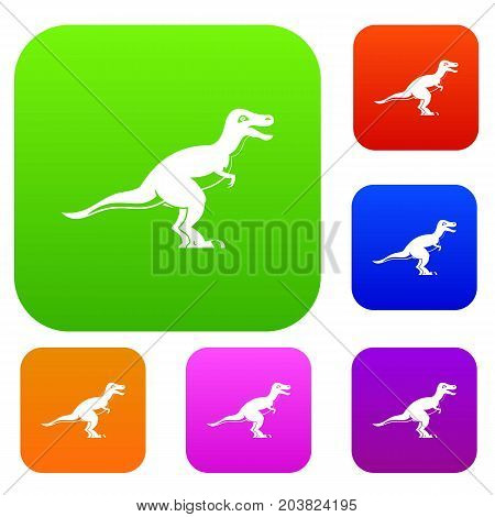 Theropod dinosaur set icon color in flat style isolated on white. Collection sings vector illustration