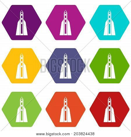 Rocket icon set many color hexahedron isolated on white vector illustration