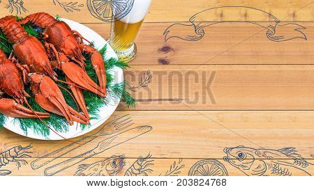 Seafood menu design, centre spread. Hand drawn illustration, lemon, shrimps, fork and knife, dried fish, glass of beer. Boiled red crawfish on a plate with green fennel on a white wooden background.