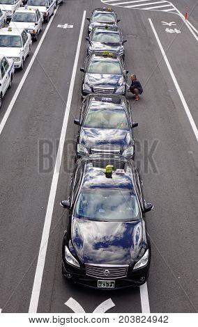 Traffic At Downtown In Sendai, Japan