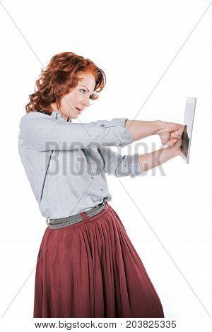 Woman Punching Digital Tablet