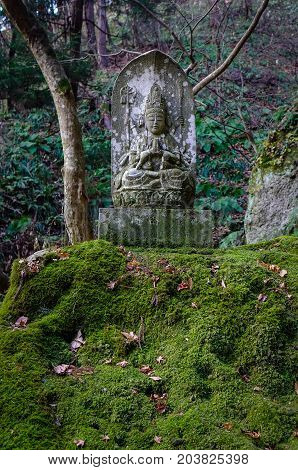 Statue At Forest In Yamadera, Japan