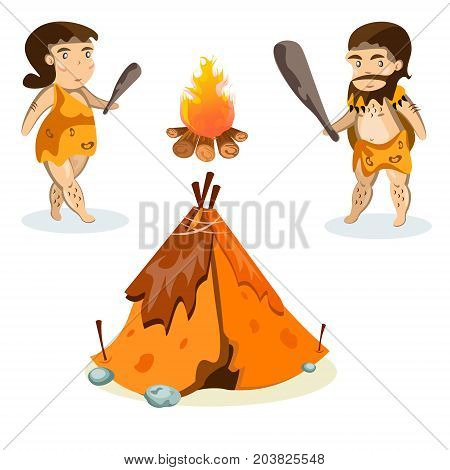Cavemen in stone age weapon tool and ancient animals isolated vector illustration
