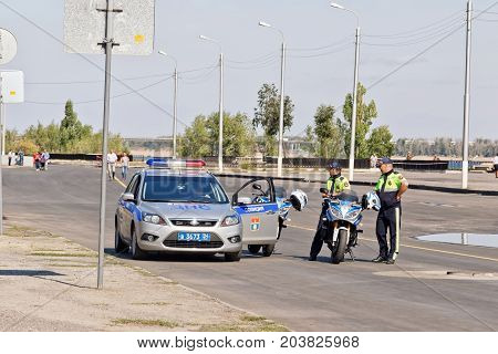 VOLGOGRAD - SEPTEMBER 9: Road patrol and inspection service of the police official car and motorcycle. September 9 2017 in Volgograd Russia.