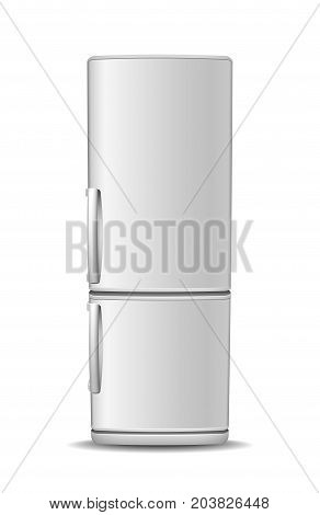 Fridge freezer isolated on white background. Front View of white steel refrigerator. Modern, realistic vector illustration of home appliances