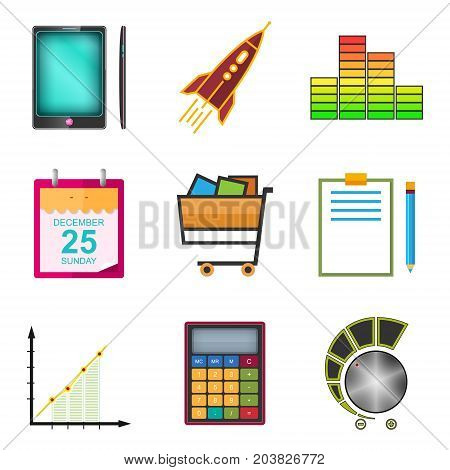 Set of Colorful Business Icons on a White Background Phone and Office Items Icon of Business Success Graph Growth Shopping Basket Vector Illustration