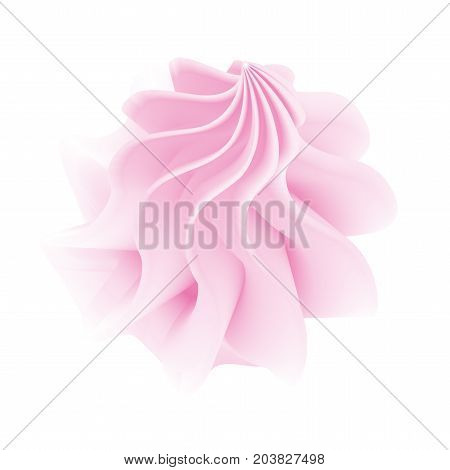 Vector illustration of pink twisted marshmallow or cupcake top isolated on white