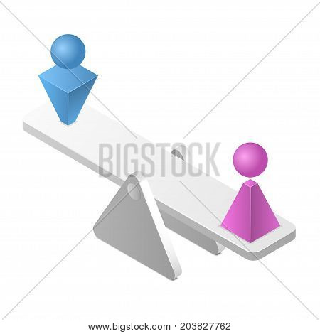 Man equal to woman on a scales. Gender equality concept isolated on white background. Isometric vector illustration
