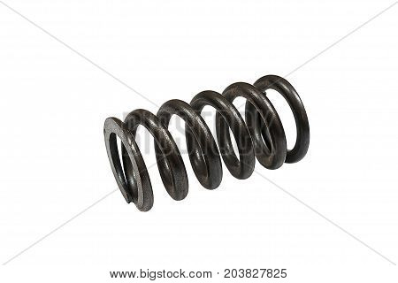 Metal black coil spring on white background Clipping path