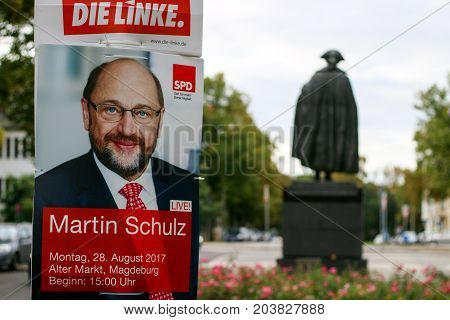 MAGDEBURG, GERMANY - September 9: The politician Martin Schulz, Chancellor candidate of the Social Democratic Party (SPD) on an election poster in Magdeburg. German Elections 2017