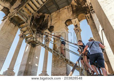 SPLIT, CROATIA - JULY 12, 2017: Tourist visiting Tower Sveti Duje in Split. Croatia