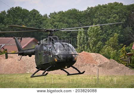 FISCHBECK, GERMANY 2013: A helicopter of the German army