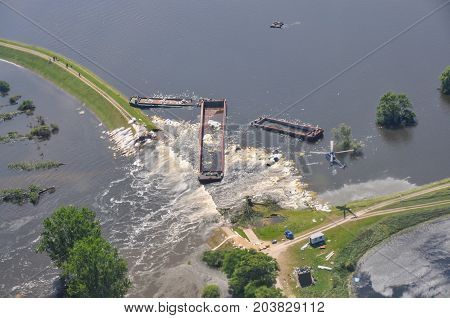 FISCHBECK, GERMANY 2013: Destroyed dike near Fischbeck. Saxony-Anhalt.
