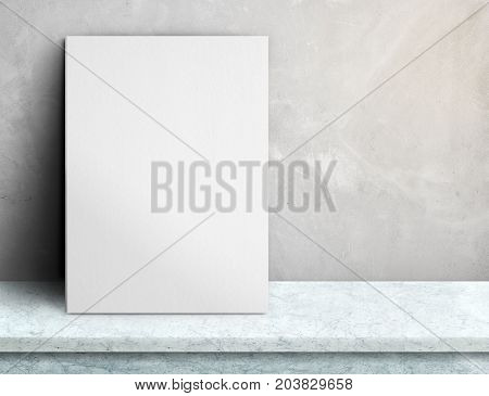 Blank White Paper Poster On White Marble Table At Grey Concrete Wall,template Mock Up For Adding You