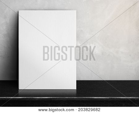 Blank White Paper Poster On Black Marble Table At Grey Concrete Wall,template Mock Up For Adding You