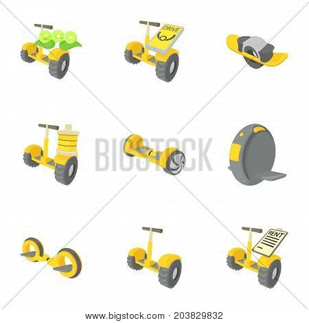 Balancing scooter icons set. Cartoon set of 9 balancing scooter vector icons for web isolated on white background