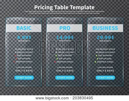 Glass pricing table templates. Design element for websites and applications with limited offer. Vector illustration with web banners with three plan type - Basic, Pro and Business.