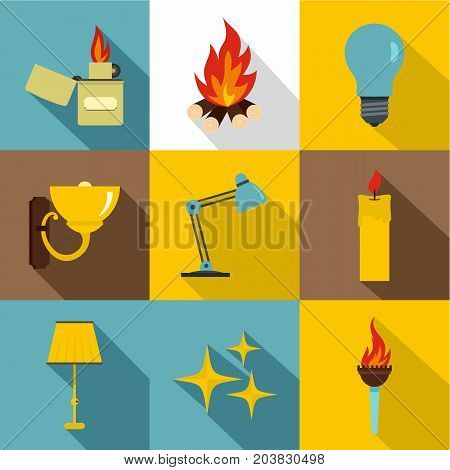 Illumination source icon set. Flat style set of 9 illumination source vector icons for web design