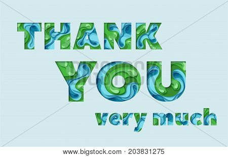 Thank you greeting card. 3d paper cut concept design. Vector paper carving typographical background
