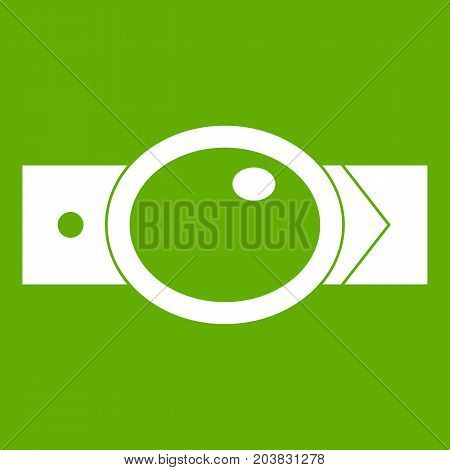 Belt with oval shaped buckle icon white isolated on green background. Vector illustration