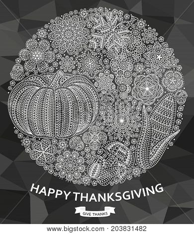 Happy Thanksgiving background with creative vegetables and flowers. Vector illustration