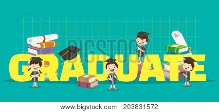 Graduation concept illustration.Students Boy and Girl Graduated various actions with elements Books certificates around big Letter.