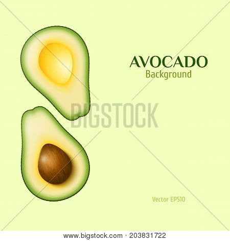 Vector realistic two slices of ripe avocado. One slice with core. Retro color avocado background for your banner flyer design