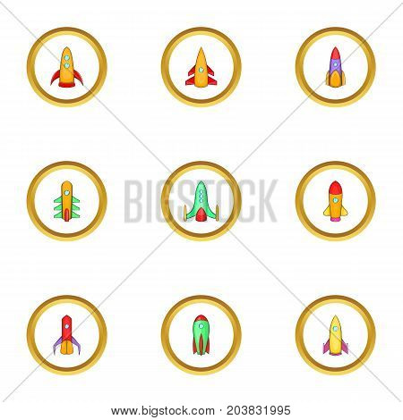 Space rocket icons set. Cartoon set of 9 space rocket vector icons for web isolated on white background