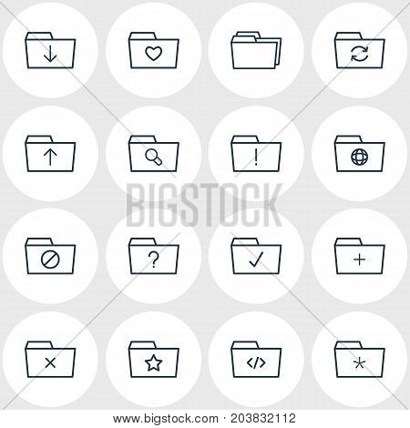 Editable Pack Of Magnifier, Question, Locked And Other Elements.  Vector Illustration Of 16 Dossier Icons.