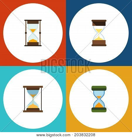 Flat Icon Hourglass Set Of Measurement, Sand Timer, Instrument Vector Objects