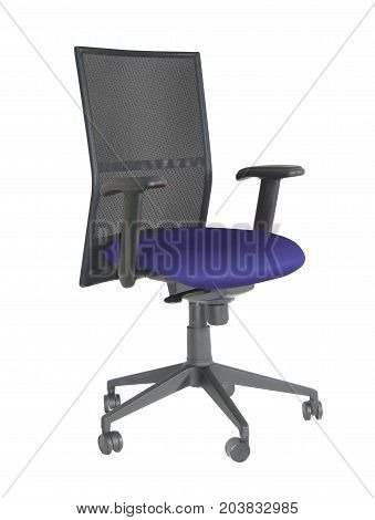 BLUE  AND BLACK OFFICE, SWIVEL CHAIR,  WITH AN ISOLATED BACK GROUND