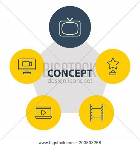 Editable Pack Of Reward, Tv, Filmstrip And Other Elements.  Vector Illustration Of 5 Film Icons.