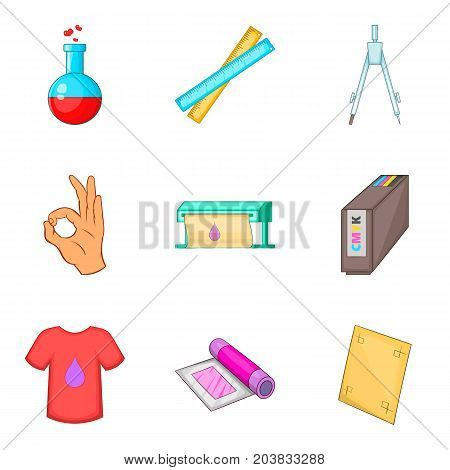 Dyeing icons set. Cartoon set of 9 dyeing vector icons for web isolated on white background