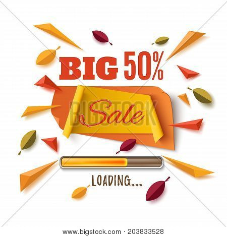Big sale banner with abstract leafs, loading bar and colorful partikles isolated on white background. Template for poster or brochure.  Vector illustration.