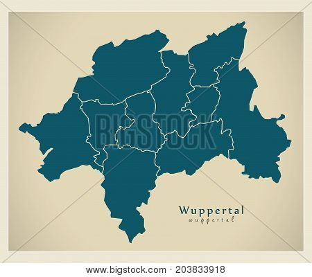 Modern City Map - Wuppertal City Of Germany With Boroughs De