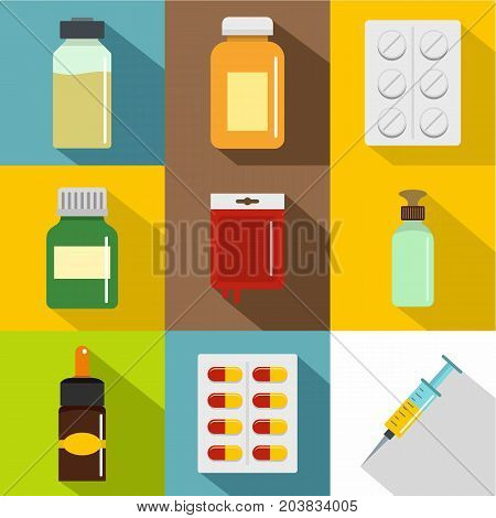Pharmacy icon set. Flat style set of 9 pharmacy vector icons for web design
