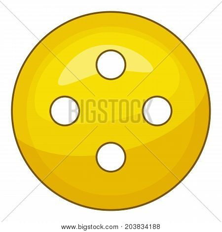 Yellow cloth button icon. Cartoon illustration of yellow cloth button vector icon for web