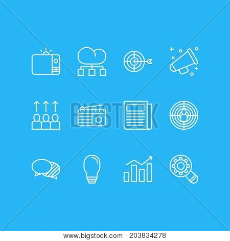 Editable Pack Of Television, Lamp, Statistics And Other Elements.  Vector Illustration Of 12 Marketing Icons.