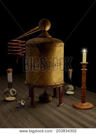 Fantasy illustration of a brass still and other alchemy equipment on a wooden laboratory table, digital illustration (3d render, 3d rendering,3d illustration)