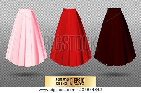Vector illustration of different model skirt on transparent background. pleated skirt mock up. Pink red and vinous variation.