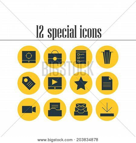 Editable Pack Of Video Camera, Document, Messages And Other Elements.  Vector Illustration Of 12 Web Icons.