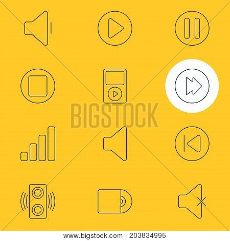 Editable Pack Of Mp3, Pause, Start And Other Elements.  Vector Illustration Of 12 Melody Icons.